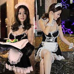 Sexy Lingerie Cosplay French Apron Maid Servant Lolita Sexy Costume Babydoll Dress Uniform Erotic Lingerie Role play Hot. Aliexpress No.1 Fashion Store