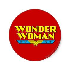 Wonder Woman Name and Logo Round Sticker $5.75