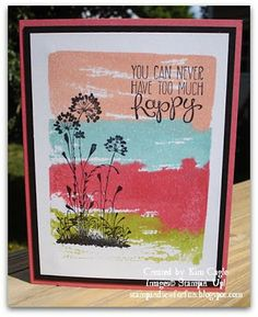 www.createwithbev.blogspot.com from Sherrill graff Stamp and Sew For Fun - Watercolor Technique using Stampin' Up! Clear Blocks and Ink Refills. Yippy Skippy and Serene Silhouettes Stamp Sets.