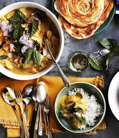 Chicken and bamboo-shoot yellow curry with roti and rice - big ass meal by the Gourmet Traveller