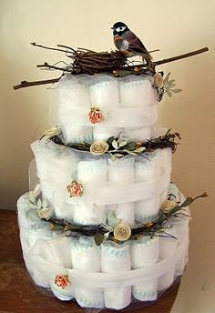 Love this diaper cake idea...or you could washcloths, onesies.....