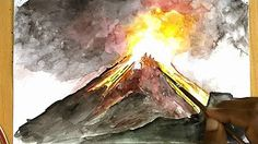 How to draw a volcano erupting step by step For Kids - Timelapse - YouTube