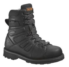 Harley-Davidson Men's FXRG-3 Motorcycle Boot, Black, D98304, 7 Full grain oiled waterproof leather upper with Cordura® breathable underlays. Breathable Gore-Tex® membrane waterproof lining. ShockAbsorbers Twin Pad Comfort Technology. Removable dual-density polyurethane sock footbed. YKK® locking inside zipper.  #Harley-Davidson #Shoes