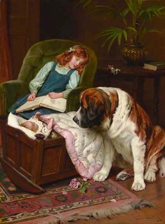 """""""The Faithful Guardian"""" (Signed and dated 'Arthur J. Elsley 1911', lower right), by English artist - Arthur John Elsley (1860-1952), Oil on canvas, 39 1/2 x 29 1/2 in. (100.3 x 75 cm.), Sale Information: SALE 7279 - VICTORIAN & TRADITIONALIST PICTURES, November 22, 2006, London, King Streeet; Credit: CHRISTIE'S The Art People."""