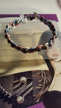 Pink white and blue bead bracelet