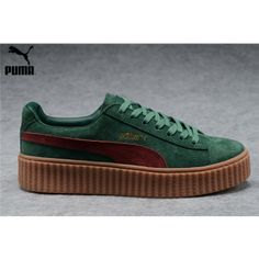 Men s Women s Fenty Puma by Rihanna Suede Creepers Shoes Green Burgundy 43a0d80e4
