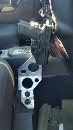 Jeep pistol mount, Blade Tech tek lok ready, using 1/4 diamond plate aluminum