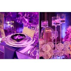 Love this table setup at this wedding! Purple uplighting.
