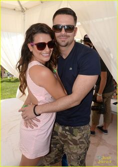 Lea Michele gets a warm hug from Glee co-star Mark Salling during the LACOSTE Beautiful Desert Pool Party