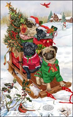 Pug - Good Tidings and Cheer (Black & Fawn) -  by Margaret Sweeney