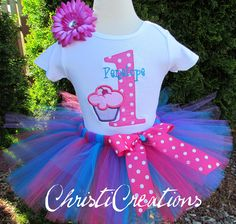 Tutu Much Fun Cupcake 1st Birthday Custom Made Birthday Tutu Set Great for Party or Photo Prop. $55.00, via Etsy.