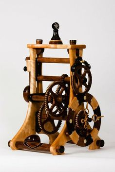 M9 - Anniversary Clock Wooden Clock Plans, Wooden Gear Clock, Wooden Gears, Skeleton Clock, Anniversary Clock, Mechanical Clock, Cool Clocks, Clock Parts, Beginner Woodworking Projects