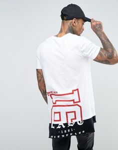 ASOS Super Longline T-Shirt With Half And Half Print And Contrast Hem Extender