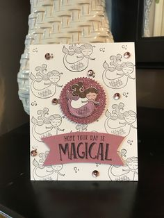 Cards by Kelly - featuring Stampin Up Magical Day stamp set with Stampin Blends markers and Sweet Sugarplum cardstock, Black memento ink