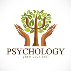 Psychology Concept Vector Logo Or Icon Created With Greek Psi Symbol As A Green Tree With Leaves And Tender Guarding Hands, Mental Stock Vector - Illustration of caring, psychiatrist: 146235119 Psychology Symbol, Applied Psychology, Psychology Wallpaper, Humanistic Psychology, Care Logo, Symbol Logo, Green Trees, Logo Inspiration, Colors