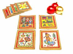 Glitter red gold Christmas drink fabric coasters mat by SABDECO
