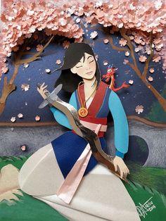 Mulan in paper cutting by RaphaelOda
