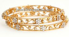 Amazing Diamond bangles with gold cut work - Latest Jewellery Designs