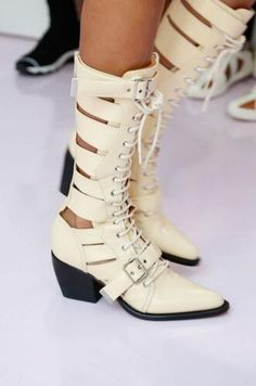 7f770c06f86 Cross-tied Buck Belt Square Toe Women Ankle Boots Genuine Leather Print  Flower Chelsea Boots Hollow Out Runway Female Boots 2018