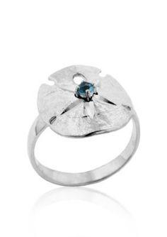 Belk  Co.  Sterling Silver Blue Topaz Sand Dollar Ring