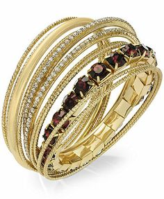INC International Concepts Gold-Tone Red Cabochon and Crystal Bangle Bracelet Set