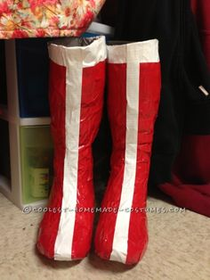 DIY Wonder Woman Costume boots out of duct tape. Cute Costumes, Super Hero Costumes, Halloween Costumes For Girls, Adult Costumes, Costumes For Women, Woman Costumes, Costume Ideas, Pirate Costumes, Princess Costumes