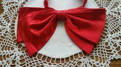 "Men's Vintage RED Satin OVERSIZED Bow Tie 7"" X 5"" Butterfly FLOOPY Bowtie 1970's #AFTERSIX #BowTie #FORMALPARTYSPECIALOCCASIANCLUBWEAR"