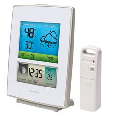 #AcuRite Color Weather Station 02031 | uses patented Self-Calibrating Technology to provide your personal forecast of 12 to 24 hour weather conditions. The illuminated color LCD screen includes indoor / outdoor temperature and humidity, moon phase, barometric pressure with weather trend indicator, Intelli-Time clock and calendar. Intelli-Time clock automatically updates itself for Daylight Saving Time. Get it on AcuRite.com: http://bit.ly/1zc9ExV