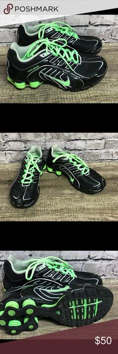 Nike shox sneakers athletic Sz 8 Black  lime green Nike shox Women s  sneakers Sz 8 Black and lime green lace up Nike Shoes Sneakers 82a40357f