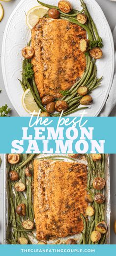 This Easy Lemon Salmon Recipe is perfect for a quick dinner. Learn how to make lemon salmon in one pan that is healthy and delicious! Baked in the oven, it's delicious on it's own or served over pasta. Healthy Eating Recipes, Easy Healthy Dinners, Cooking Recipes, One Pan Dinner Recipes, Whole 30 Recipes, Salmon Dishes, Fish Dishes, Salmon Recipes, Seafood Recipes