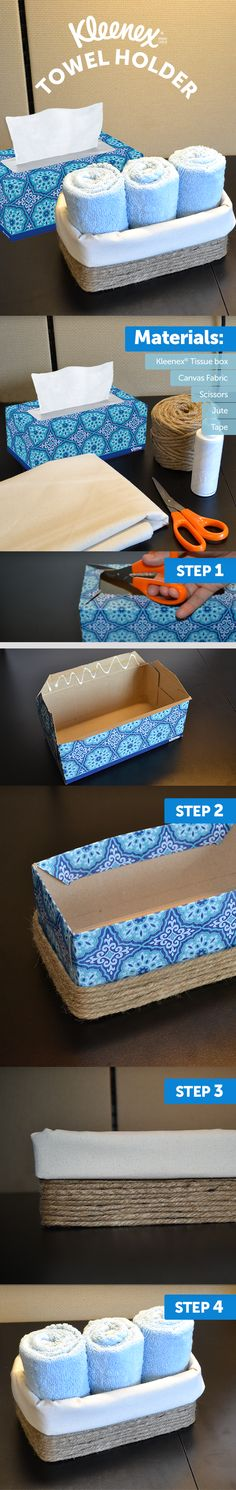 "Trash to Treasure: Upcycled Kleenex Box - Turn a sturdy Kleenex® tissue box into a fabric and twine towel holder. ""Oohs"" and ""aahs"" - Twine Crafts, Rope Crafts, Crafts To Do, Diy Crafts, Fabric Crafts, Recycled House, Recycled Crafts, Diys, Kleenex Box"