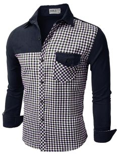 Mens Casual Corduroy Check Shirts (CMTSTL081)