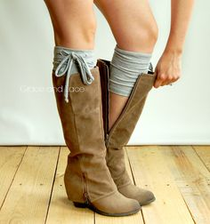 Jersey Tie Boot Cuffs - heather GREY boot topper boot cuff w/ self tie - faux legwarmers - leg warmers boot warmers by Grace and Lace