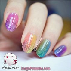 Ombre Nail Art Designs Fantastic and colorful Ombre glitter nail art. Put together your favorite colors into beautiful Ombre combinations and don't forget to add sprinkled of glitter on top for effect. Crazy Nail Art, Cute Nail Art, Cute Nails, My Nails, Nail Designs Spring, Nail Art Designs, Rainbow Nail Art, Nagellack Design, Glitter Nail Art