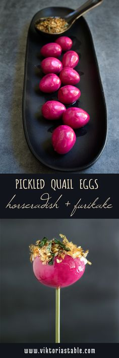These cute pickled quail eggs are as delicious as they are stunning to look at - served with horseradish mayo, and furikake, they make a spectacular appetizer.   www.viktoriastable.com