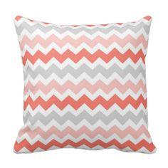 Coral Gray Chevron Decorative Pillow