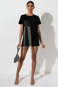 AKIRA Label Crew Neck Shirt Dress with Rhinestone Fringe Graphic in Black Look Fashion, Diy Fashion, Ideias Fashion, Fashion Dresses, Womens Fashion, Mode Streetwear, Fashion Project, Fashion Design Sketches, African Wear