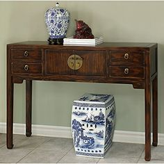 China Furniture Online Elmwood Console Table Ming Style Mahogany Finish *  Learn More By Visiting The Image Link.