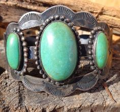 Vintage Native American Kik-A-Poo sterling Silver Green Turquoise Cuff Bracelet
