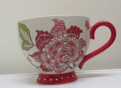 SOLD OUT on Kohls.com  For sale in our Ebay store...click photos for details.  Kohls Tabletops Unlimited Maly 15 oz. Cappuccino Mug Red Floral Earthenware NWT #TabletopsUnlimited #Maly #Kohls #cup #mug #coffee #cappuccino
