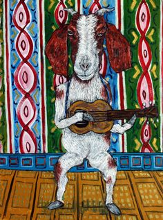 goat guitar 13x19 glossy signed art artist print animals impressionism gift new #modern