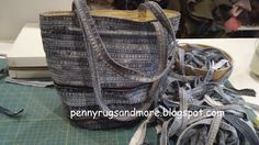 Make a bag from side seams of old jeans....Pennyrugsandmore.blogspot.com  another thing to start hoarding, uh collecting.