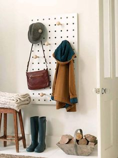 "Wooden Peg Board - Mad About The House... apply to side of mudroom ""lockers"""