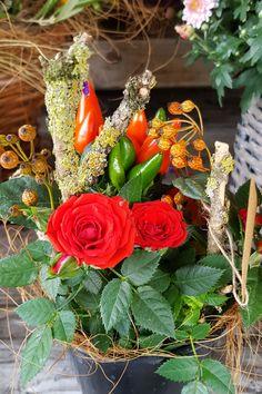 Herbstlich Gefulltes Blechgefass Herbstfloristik Herbstpflanzen Pflanzen Herbst Dekoration