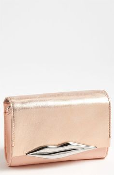 Diane von Furstenberg Lips - Mini Metallic Leather Clutch | Nordstrom
