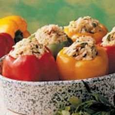 Salmon Stuffed Peppers Recipe. This a fun way to use salmon. I was tired up pan frying or broiling it. So, I got the idea to stuff fresh pepper with the salmon http://imgicky.com/Recipes/?p=3887