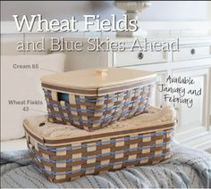 New Longaberger Wheat Fields Weave available with select baskets in January & February!