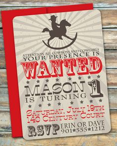 Cowboy First Birthday Invitation