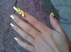 Gold nails with finger-tip ring