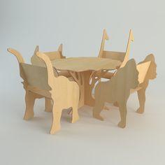 3d plywood furniture set model
